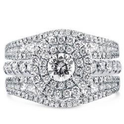 Double Halo Embedded Ring Guard 3PC Wedding Set(1.79 CT. TW.)