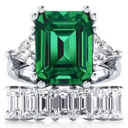 Solitaire Three Stone Created Emerald Bridal Set (15.00CT. TW.)