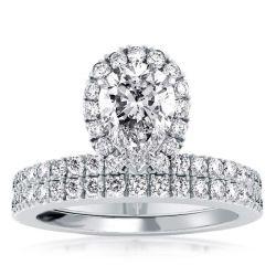 Halo Pear Created White Sapphire Bridal Set(2.25 CT. TW.)