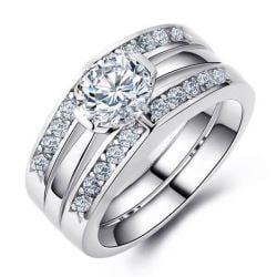 Embedded Channel Setting 3PC Wedding Set