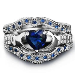 Italo Claddagh Created Sapphire 3PC Wedding Set