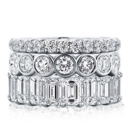 Triple Row Eternity Stackable Band Set