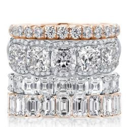 Four Row Two Tone Stackable Band Set (18.15 CT. TW.)