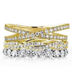 Two Tone Twist Cross Stackable Band Set (4.30 CT. TW.)