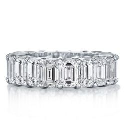 Italo Emerald Eternity Created White Sapphire Wedding Band