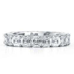 Italo Eternity Asscher Created White Sapphire Wedding Band