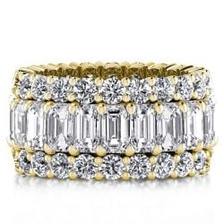 Italo Golden Triple Row Created White Sapphire Wedding Band