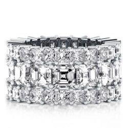 Triple Row Eternity Asscher Wedding Band (7.55 CT. TW.)