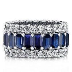 Italo Triple Row Created Sapphire Wedding Band(8.25 CT. TW.)