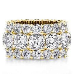 Golden Triple Row Eternity Cushion Wedding Band