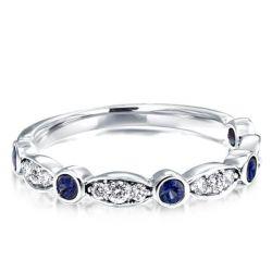 Art Deco Created Sapphire Wedding Band (0.25 CT. TW.)
