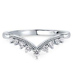 Milgrain Chevron Wedding Band Ring
