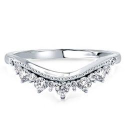 Milgrain Crown Design Sterling Silver Wedding Band
