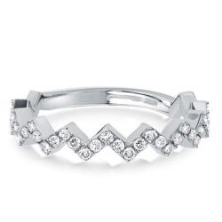 Zigzag Design Half Eternity Silver Wedding Band