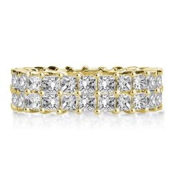 Double Row Golden Princess Cut Wedding Band