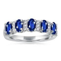 Blue Oval Semi Wedding Band
