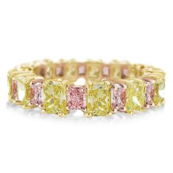 Pink & Yellow Radiant Cut Wedding Band