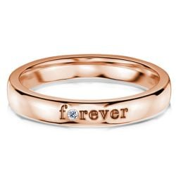 "Rose Gold Round Cut ""Forever"" Wedding Band"