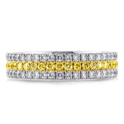 Three Row Two Tone Yellow Round Cut Wedding Band