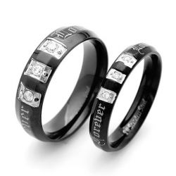 Italo Black Three Stone Titanium Steel Couple Rings