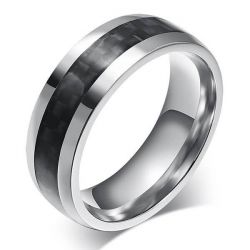Italo Carbon Fibre Titanium Steel Men's Wedding Band
