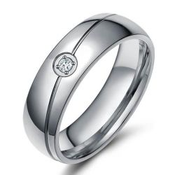 Italo Created White Sapphire Titanium Steel Men's Wedding Band