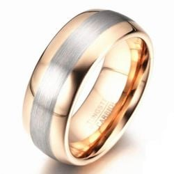 Italo Two Tone Scrub Titanium Steel Men's Wedding Band