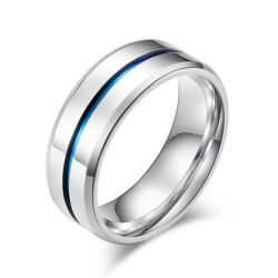 Italo Blue Groove Design Titanium Steel Men's Wedding Band