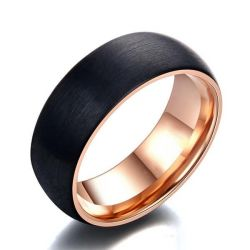 Italo Two Tone Wiredrawing Titanium Steel Men's Wedding Band
