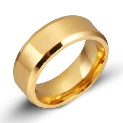 Classic Glaze Yellow Gold Titanium Steel Men's Wedding Band
