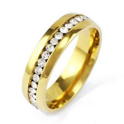 Classic Single Row Golden Titanium Steel Men's Wedding Band