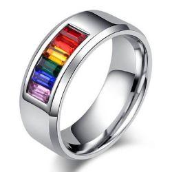 Rainbow Color Titanium Steel Men's Wedding Band (1.20CT. TW.)