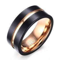 Concave Design Two Tone Titanium Steel Men's Wedding Band