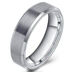 Drawbench Tungsten Steel Men's Wedding Band