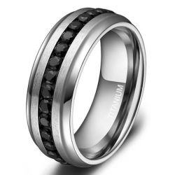 Fancy Created Black Diamond Titanium Steel Men's Wedding Band