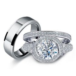 Halo Knot Design Trio Matching Wedding Set