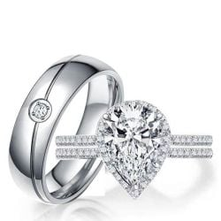 Halo Pear Wedding Set