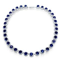 Classic Created Sapphire Halo Round Cut Necklace