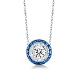 Classic Halo Created Sapphire Pendant Necklace