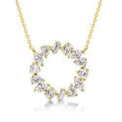 Golden Mixed Shape Circle Pendant Necklace