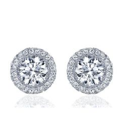 Italo Halo Created White Sapphire Stud Earrings