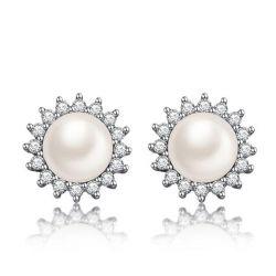 Italo Halo White Pearl Stud Earrings