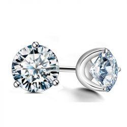 Italo Classic 3 Prong Created White Sapphire Stud Earrings