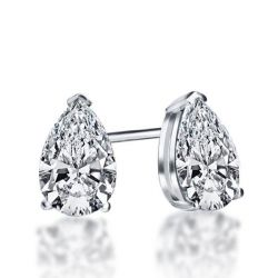 Italo Classic Pear Created White Sapphire Stud Earrings