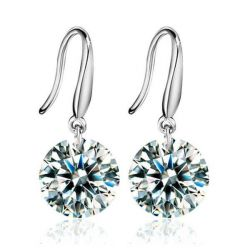 Italo Classic Created White Sapphire Drop Earrings