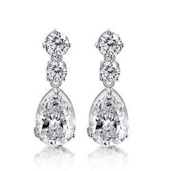 Italo Pear Created White Sapphire Drop Earrings