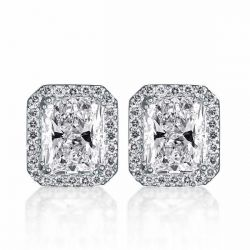 Halo Radiant Created White Sapphire Stud Earrings