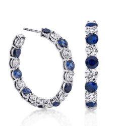 Blue Sapphire Hoop Earrings