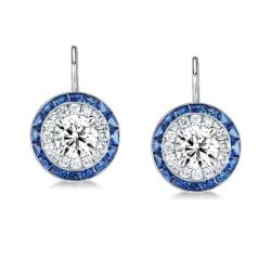 Luxury Halo Created White & Blue Sapphire Drop Earrings