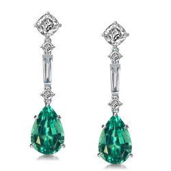 Emerald Pear Shaped Drop Earrings